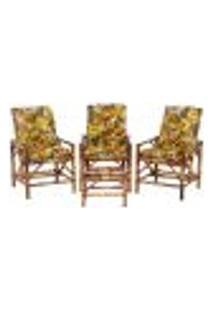 Conjunto Mesa E 3 Cadeiras De Bambu Cancun Para Área Edicula Jardim G01