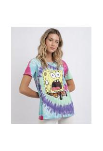 Blusa Feminina Bob Esponja Estampada Tie Dye Manga Curta Multicor