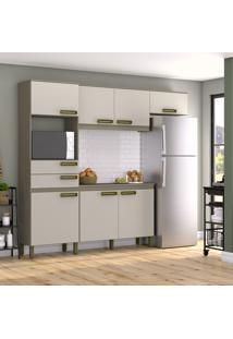 Cozinha Compacta Briz B107-35 7 Portas 2 Gavetas Duna/Cristal