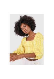 Blusa Cropped Lança Perfume Animal Print Amarela