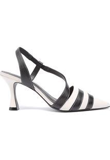 Scarpin Couro Loucos & Santos Chanel Bico Fino - Feminino-Preto+Branco