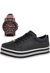 Tênis Flatform Mais Relógio Ousy Shoes Casual Elegante Preto