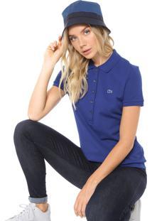 Camisa Polo Lacoste Reta Listrada Azul-Marinho/Amarela