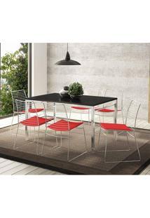 Mesa 1526 Preta Cromada Com 6 Cadeiras 1712 Vermelha Carraro