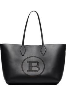 Balmain Shopping 37 Logo-Embossed Tote Bag - Preto