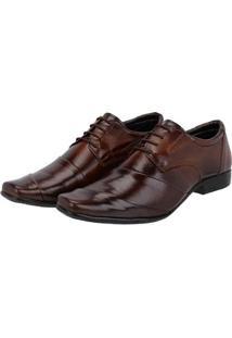 Sapato Social Couro Cadarço Leoppé Masculino - Masculino-Marrom