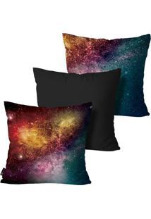 Kit Com 3 Capas Almofadas Mdecore Galaxia Preto 55X55Cm