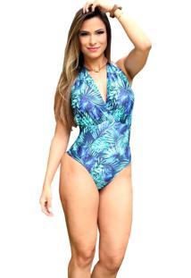 Maiô Body Bela Store Decote Frente E Costas Com Amarração Feminino