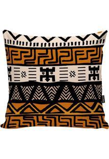 Capa Para Almofada African- Laranja Escuro & Bege- 4Stm Home