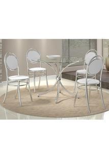 Mesa 375 Com Vidro Incolor Cromada Com 4 Cadeiras 190 Branca Carraro