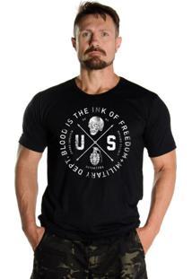 Camiseta Black Flag Us Dept. Militar Preto