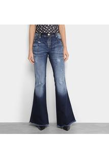 164f580c7 ... Calça Jeans Flare Lança Perfume Low Comfort Estonada Puídos Barra  Desfiada Cintura Média Feminina - Feminino