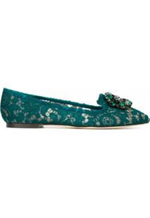 Dolce & Gabbana Slipper De Couro Modelo 'Vally' - Verde
