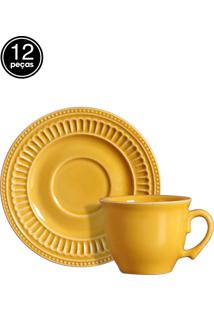 Conjunto 6 Xícaras De Chá Poppy Amarelo Scalla