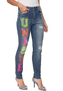 Calça Jeans Carmim Skinny Evora Neon Azul