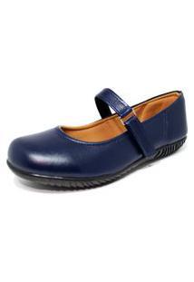 Sapato Sapatilha Boneca Fechado Confort Azul Marinho
