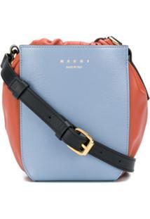 Marni Colour Blocked Drawstring Shoulder Bag - Azul