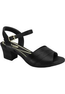 Sandália Com Recortes- Preta- Salto: 5Cmcomfortflex