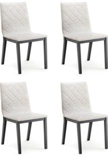 Conjunto Com 4 Cadeiras De Jantar Dora Ebanizado E Cinza Escuro