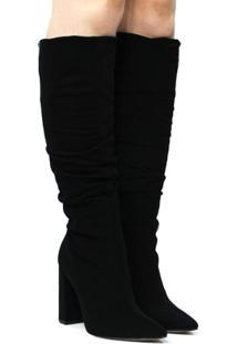 071015d0c ... Bota Montaria Zariff Shoes Nobuck Salto Alto Feminina - Feminino-Preto