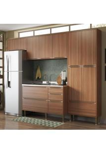 Cozinha Compacta 11 Portas 3 Gavetas 5458 Nogueira/Malt - Multimóveis