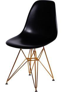 Cadeira Eames Polipropileno Preto Base Cobre - 45968 - Sun House