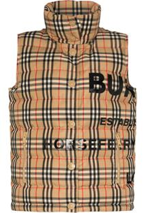 Burberry Sterling Vintage Check Puffer Gilet - Marrom