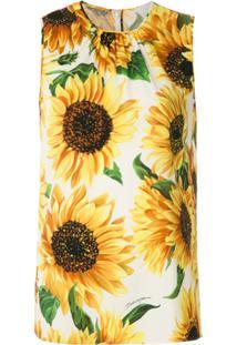 Dolce & Gabbana Blusa De Seda Girassóis Estampados - Amarelo
