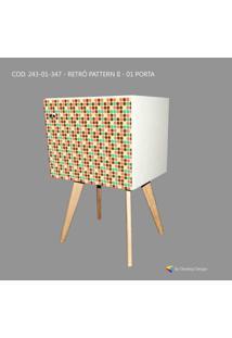Armário Retrô Customizado Pattern Ii 1P, Mdf Branco, Pés Palitos, 71X45X35Cm, Develop Design