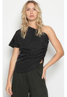 Blusa Ombro Único Com Franzido- Preta- Colccicolcci