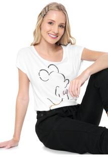 Blusa Cativa Disney Mickey Paetê Branca