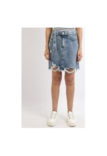 Saia Jeans Feminina Curta Destroyed Com Cinto Azul