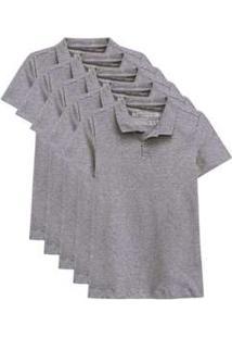 Kit De 10 Camisas Polo Femininas Cinza