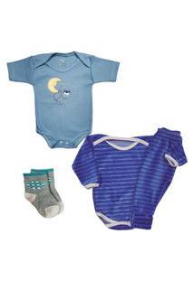 Body Roupa De Bebê Enxoval Conjunto Plush E Meia Kit 4 Peças Azul