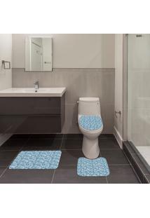 Jogo De Banheiro Arabesco Azul Único