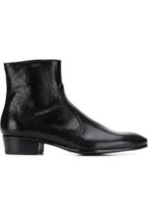 Lidfort Snakeskin-Effect Ankle Boots - Preto