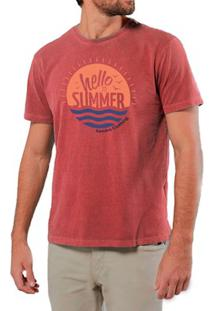 Camiseta Masculina Sandro Clothing Hello Summer Vermelha Estonada