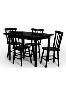 Conjunto De Mesa 110X80 Mônaco Com 4 Cadeiras Assento Pequeno - Tabaco - Btb Móveis