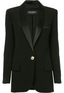 Balmain Blazer Com Abotoamento Único - Preto