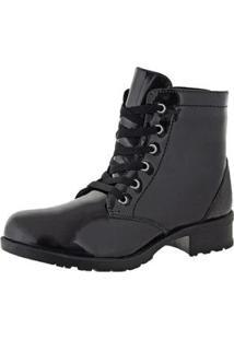 Bota Cano Curto Cr Shoes Verniz Feminina - Feminino-Preto