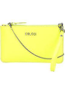 Bolsa Couro Colcci Smartbag Pequena Neon Feminina - Feminino-Verde Escuro