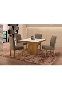 Conjunto De Mesa De Jantar Com 4 Cadeiras E Tampo De Madeira Maciça Arezo I Suede Cinza E Off White