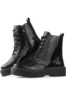 Bota Flatform Touro Boots Tratorada Verniz Preta Preto - Kanui