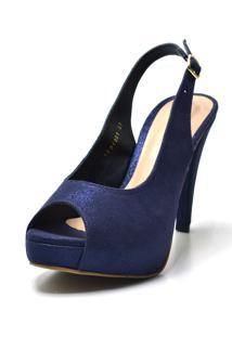Sandália Flor Da Pele Meia Pata Cintilante Chanel Azul