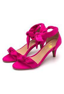 Sandália Feminina Salto Baixo Fino Com Laço Camurçado Rosa Pink