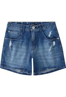 Bermuda Jeans Com Apliques Malwee