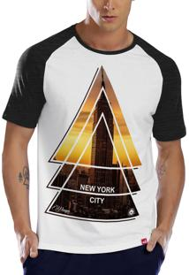 Camiseta Raglan Wevans Aplic.Bolso Floral Branco