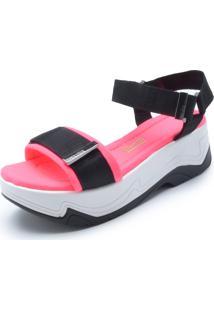 Sandália Santa Lolla Velcro Preta/Rosa