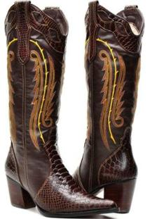 Bota Texana Country Capelli Boots Anaconda Couro Com Detalhe Costura Feminina - Feminino-Café
