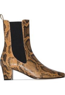 Paris Texas Ankle Boot Com Estampa Pele De Píton E Salto 50Mm - Marrom